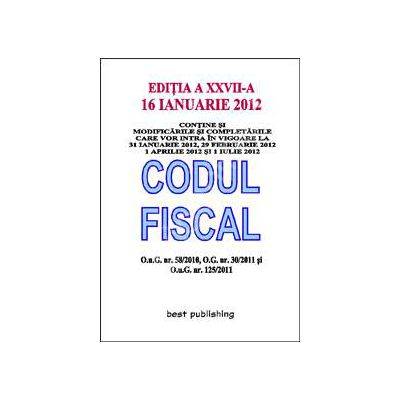 Codul fiscal 2012 (16 ianuarie 2012)