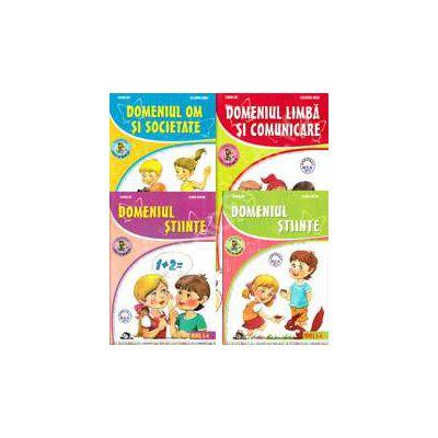 Set de 4 caiete pentru gradinita, nivel 5-6 ani. Domeniile, limba si comunicare, om si societate, stiinte (activitate matematica), stiinte (cunoasterea mediului) - Editia, 2013