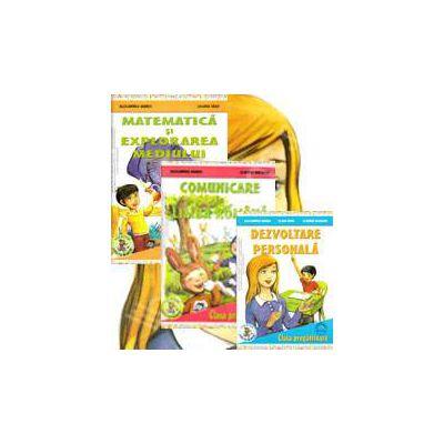 Set de 3 caiete pentru clasa pregatitoare. Comunicare in Limba Romana, Dezvoltare personala, Matematica si explorarea mediului (Editie, 2013)