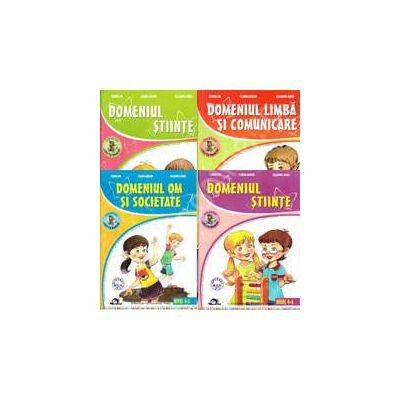 Set de 4 caiete pentru gradinita, nivel 4-5 ani. Domeniile, limba si comunicare, om si societate, stiinte (activitate matematica), stiinte (cunoasterea mediului), Editia 2013