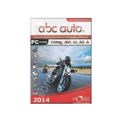 CD, Software curs de legislatie, ABC Auto v.3.0 - Categoriile AM, A1, A2, A - Actualizat 2014