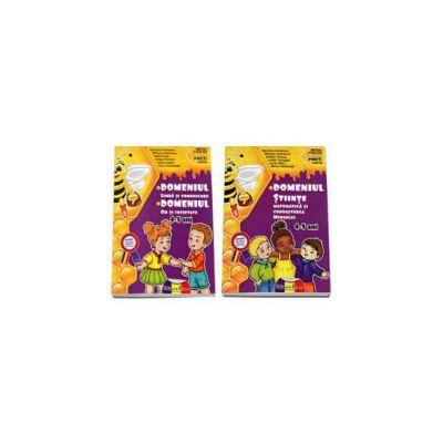 Set de 2 caiete pentru gradinita, nivel 4-5 ani. Domeniul, limba si comunicare, om si societate, stiinte, matematica si cunoasterea mediului