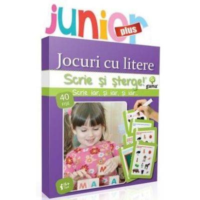 Jocuri cu litere Junior Plus - Scrie si sterge - Varsta recomandata: 4 - 7 ani