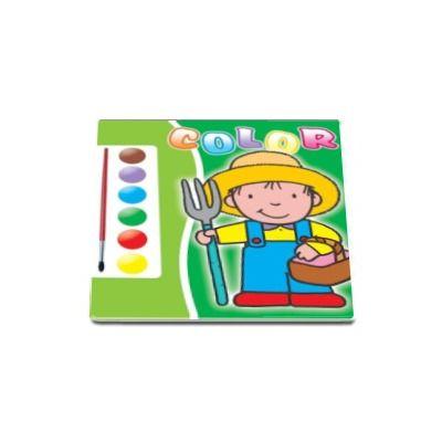 Carte de colorat cu acuarele si pensula (verde)
