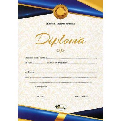 Diploma - Format A4, model imagine academica, albastru