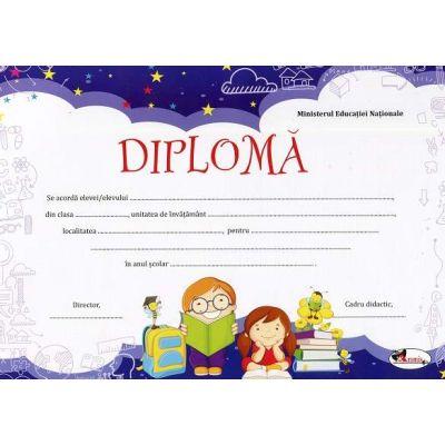 Diploma - Format A4, model imagine ghiozdan cu doi copii