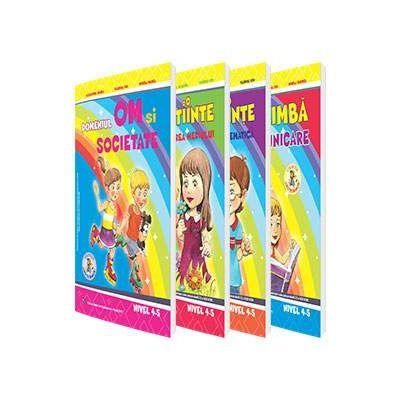 Set de 4 caiete pentru gradinita, nivel 4-5 ani - Editia 2017. Domeniul, Limba si comunicare, Om si societate, Stiinte (Activitate Matematica), Stiinte (Cunoasterea Mediului)