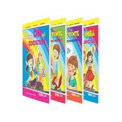 Set de 4 caiete pentru gradinita, nivel 5-6 ani - Editia, 2017. Domeniul, limba si comunicare, om si societate, stiinte (Activitate matematica), stiinte (Cunoasterea mediului)
