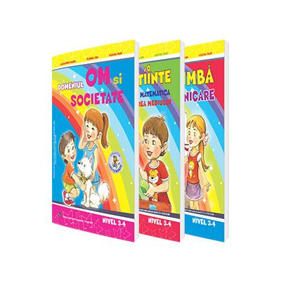 Set de 3 caiete pentru gradinita, nivel 3-4 ani - Editia 2017. Domeniul, limba si comunicare, Stiinte (Activitate Matematica, Cunoasterea Mediului), Om si societate