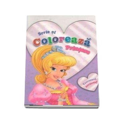 Scrie si coloreaza Printese - Exerseaza scrierea! (Bleu)