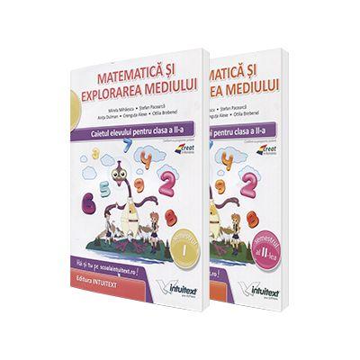 Set 2 caiete - Matematica si explorarea mediului, pentru clasa a II-a. Caietul elevului pentru semestrele I si II (Mirela Mihaescu)