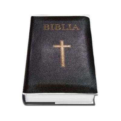 Biblia ( Format mare, 073, coperta piele, margini aurii, repertoar, fermoar, neagra, cu cruce)