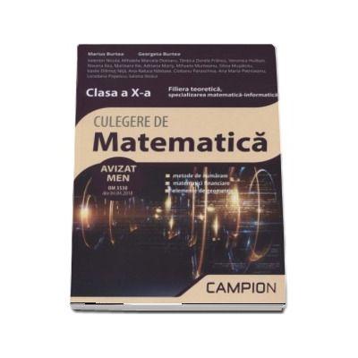 Marius Burtea - Culegere de matematica, clasa a X-a - Filiera teoretica, specializarea matematica-informatica