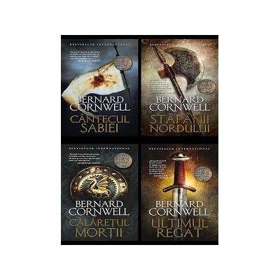 Pachet 4 volume Bernard Cornwell. Seria Ultimul Regat - Ultimul regat, Calaretul mortii, Stapanii nordului, Cantecul sabiei