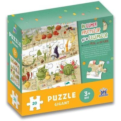 In lumea fructelor si a legumelor cu micul catel de usturoi - Puzzle gigant