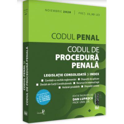 Codul penal si Codul de procedura penala: Noiembrie 2020 Editie tiparita pe hartie alba