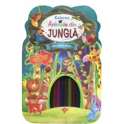 Colorez animale din jungla. Set pentru desen