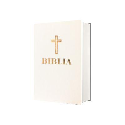 Biblia sau Sfanta Scriptura, coperta alba din piele, editie omagiala 100 de ani de la Marea Unire