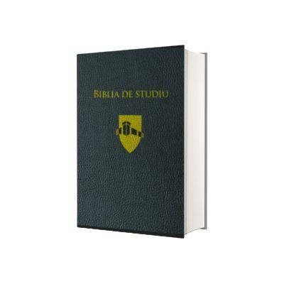 Biblia de studiu Andrews, editie de lux, coperta piele, neagra, margini aurii