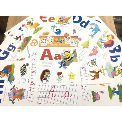 Alfabet, set cu 32 de planse ilustrat distractiv