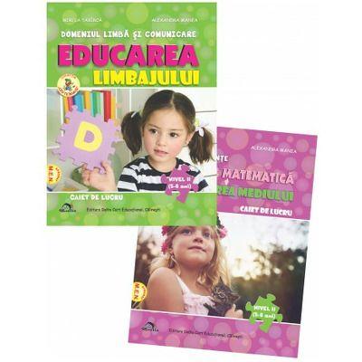 Set de 2 caiete pentru gradinita NIVEL II (5-6 ani). Activitate matematica si cunoasterea mediului si Educarea limbajului, Editia 2021