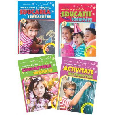 Set de 4 caiete pentru gradinita, nivel 5-6 ani. Domeniul, limba si comunicare, om si societate, stiinte. Delta Cart, editia 2021
